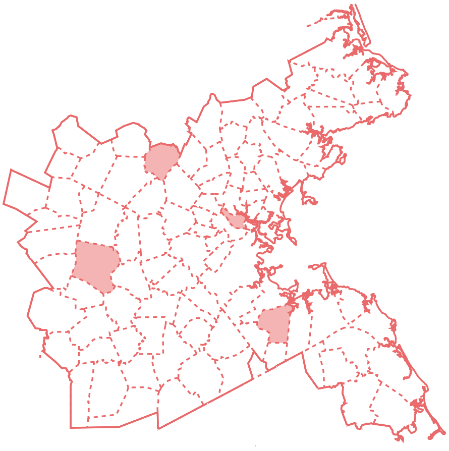 A map of the MPO region with the four re-elected municipalities indicated in red.