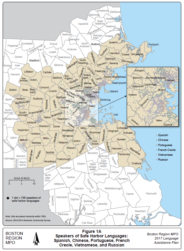 A map showing the location of speakers of Safe Harbor Languages (Spanish, Chinese, Portuguese, French Creole, Vietnamese, and Russian) in the Boston MPO Region.