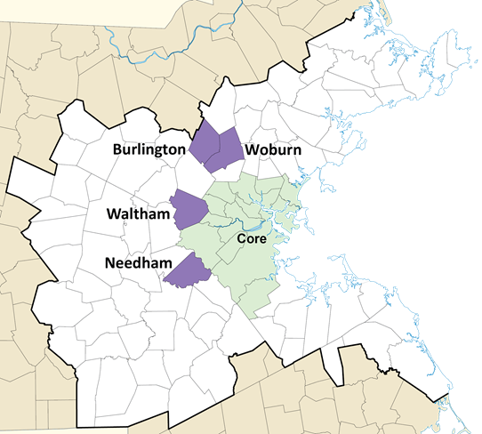 A map of the region highlighting Woburn, Burlington, Waltham, and Needham.