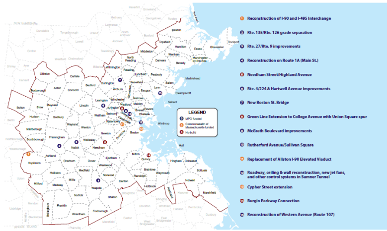 A map showing the locations of major infrastructure projects in Destination 2040.