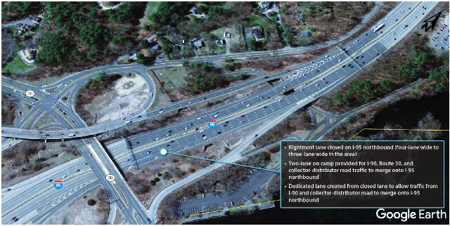 An overhead photograph of I-95 northbound at the I-90 interchange in Weston showing implementation of recommendations by MPO staff.