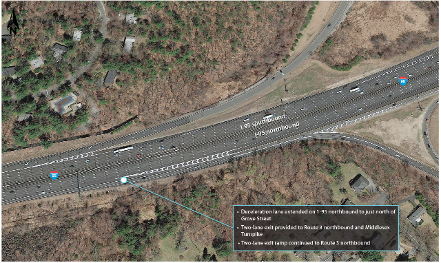 An overhead photograph of I-95 at Route 3 and the Middlesex Turnpike in Burlington after implementation of recommendations by MPO staff.
