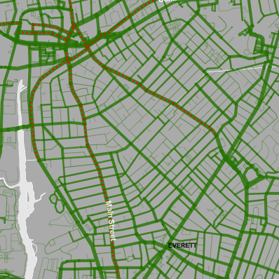 A map of Lime Bike trips in Malden and Everett.
