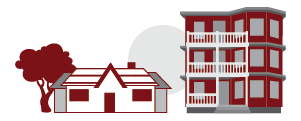 A graphic showing two buildings, one a single-family home and the other a triple-decker.