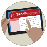 A graphic showing transreport on an e-reader.